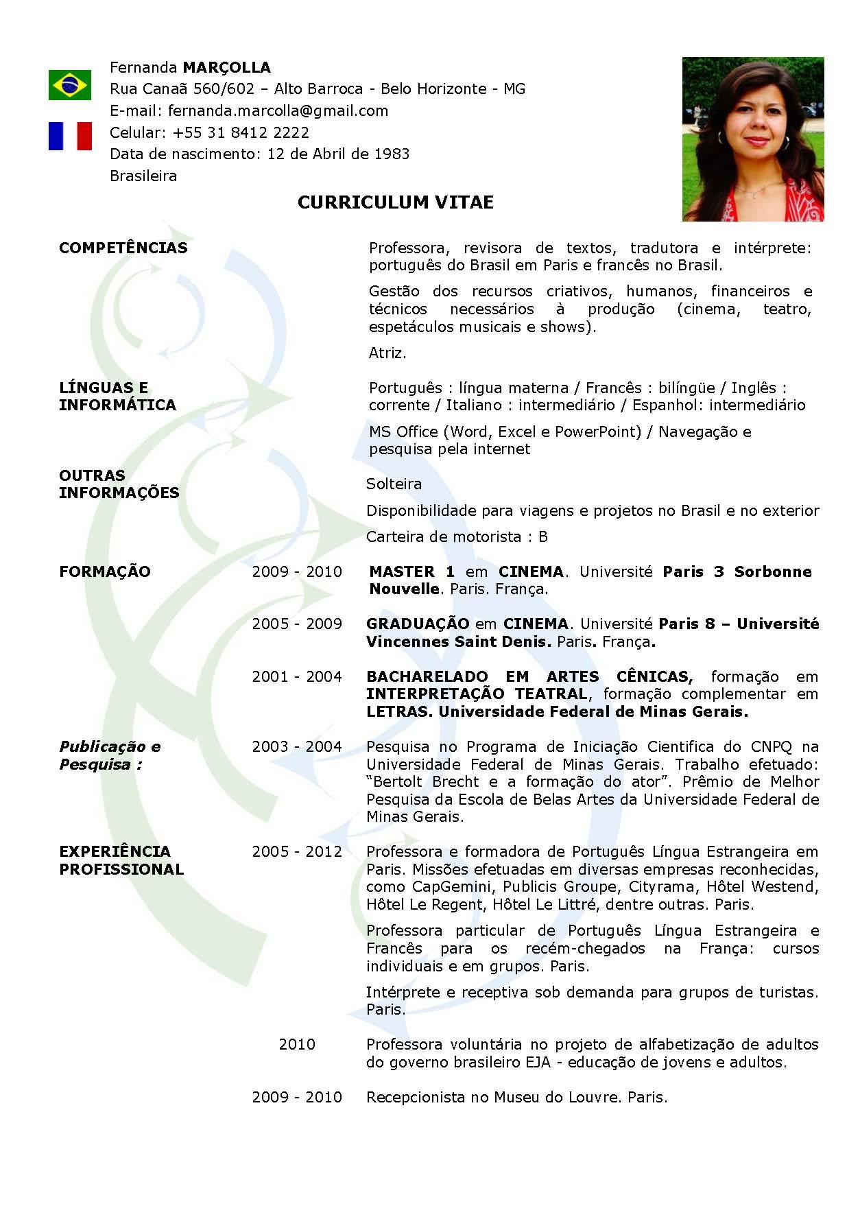 61 Curriculum Vitae Europass Exemplo Word Exemplo Word Vitae